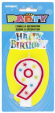 Number Nine 9 Birthday Cake Candle With Topper